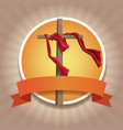 christianity round icons with ribbon vector image