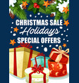 christmas holiday sale gifts offer poster vector image