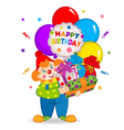 clown keeps balloons and birthday gifts vector image
