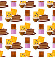 coffee cups waffles seamless pattern vector image