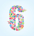 colorful floral 6 number design isolated on white vector image