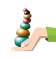 colorful pebbles pile in human hand - vector image vector image