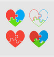 couple hearts puzzle love valentine day vector image