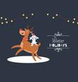cute cartoon reindeer with antlers and rabbit vector image