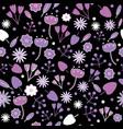 cute night purple white flower garden vector image