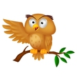 Cute owl cartoon waving vector image vector image