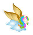 cute pegasus on clouds fantasy creature vector image vector image