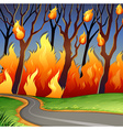 Disaster scene of forest fire vector image