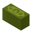dollar stack icon isometric style vector image