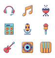 electronic music icons set flat style vector image vector image