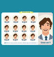 face expressions of a manbusinessman vector image