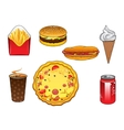 Fast food snacks soda can and ice cream vector image vector image