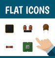 flat icon device set of resistance unit triode vector image vector image
