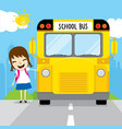 girl student go to school by school bus in the mor vector image vector image