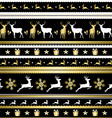 Gold Christmas holiday deer decoration pattern vector image vector image