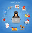 hacker activity concept with hacker vector image vector image