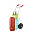 Hand Truck Loading Stack of Luggages and Bag vector image