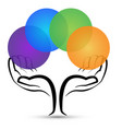 hands tree holding colorful circles logo vector image