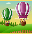 happy cartoon kids flying in a hot air balloon vector image