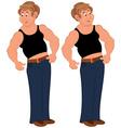 Happy cartoon man standing in sleeveless top vector image vector image