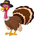 happy cartoon turkey in a hat vector image vector image