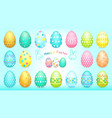 happy easter banner with easter eggs collection vector image