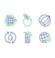 hazelnut eco energy and water glass icons set vector image vector image