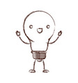 light bulb kawaii caricature with open arms vector image