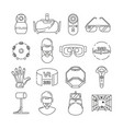 linear symbols of technology virtual reality and vector image