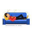 man listening music and relaxing on sofa couch vector image