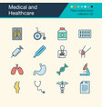 medical and healthcare icons filled outline vector image vector image