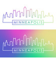 minneapolis skyline colorful linear style vector image vector image