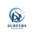 modern surfing people logo vector image vector image