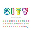 modern urban font golographic 3d alphabet trendy vector image