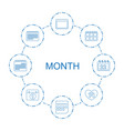 month icons vector image vector image