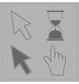 Mouse hand arrows and hourglass Grey background vector image