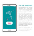 online shopping poster with mobile phone and cart vector image vector image