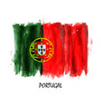 realistic watercolor painting flag of portugal vector image