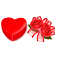 red roses and gift box vector image vector image