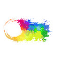 round frame with grungy scuffs and rainbow vector image