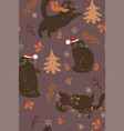 seamless pattern with cute brown christmas cats vector image vector image