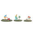 set man or woman farmers working in garden care vector image vector image