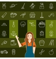 Set of vegetable line icons and a gardener woman vector image vector image