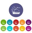 ship columbus set icons vector image vector image