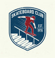 skateboarding club badge vector image vector image