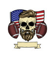 sketch color skull american football vector image vector image