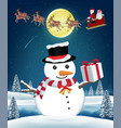 snowman with gift box from flying santa claus vector image