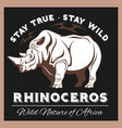 stylized rhino in vintage style vector image vector image