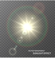 Sun sunlight with rays and lens flare lights vector image