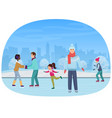the people skating on an open-air rink in the vector image vector image